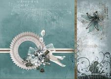 La carta d'annata ha graffiato con i fiori e l'allacciamento del appliqué fotografia stock
