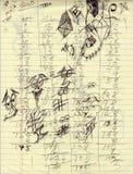 La carta da lettere scribacchia la struttura del fondo dei punteggi Fotografia Stock Libera da Diritti