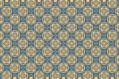 La carta da parati blu della decorazione dell'illustrazione di progettazione di arte del modello di struttura del fondo dei cerch Immagini Stock