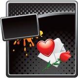 La carta de amor sucia de semitono negra del anuncio y se levantó Imagen de archivo libre de regalías
