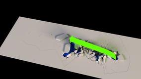 la carta de crecimiento del negocio de la representación 3D con una flecha destruye las barreras que se alzan stock de ilustración