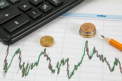 La carta de Dow Jones Business con la calculadora, las monedas y el lápiz indica el máximo Foto de archivo libre de regalías