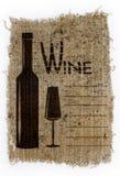 La carta de vinos, dibujada en una vieja lona Fotos de archivo libres de regalías