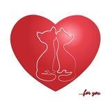 La carta del biglietto di S. Valentino con i gatti Illustrazione di Stock