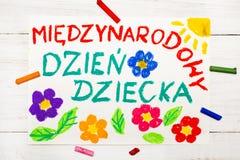 La carta del giorno del ` s dei bambini con polacco esprime il giorno del ` s dei bambini Immagini Stock Libere da Diritti