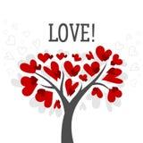 La carta del giorno di biglietti di S. Valentino e di amore con l'albero di amore ed il cuore rosso vector il manifesto del fondo Immagini Stock Libere da Diritti