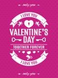 La carta del giorno di biglietti di S. Valentino con stile di tipografia dell'etichetta ed i cupidi sul fondo dei cuori dentellan Fotografia Stock Libera da Diritti