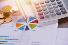 La carta del informe de negocios que prepara concepto de la moneda de la calculadora de los gráficos/informe resumido en estadíst fotos de archivo