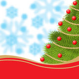 La carta del nuovo anno con abete ha decorato le palle e la ghirlanda rosse dell'oro Fotografia Stock