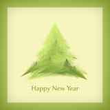 La carta del nuovo anno con un albero di Natale nel telaio verde Fotografie Stock Libere da Diritti