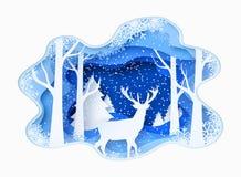 La carta dell'estratto dell'inverno 3d ha tagliato l'illustrazione di neve ed i cervi nella foresta Vector il modello Immagini Stock Libere da Diritti