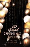 La carta dell'invito di grande apertura con gli aerostati e l'oro serpeggiano Immagini Stock