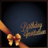 La carta dell'invito e di compleanno con il vettore nero del colorbackground progetta Fotografia Stock