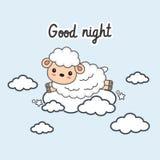 La carta della buona notte con poche pecore salta sulle nuvole Illustrazione di vettore illustrazione di stock
