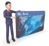 La carta di credito indica la rappresentazione di Person And Bank 3d di affari Immagini Stock