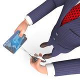 La carta di credito indica la rappresentazione di Person And Bought 3d di affari Immagine Stock