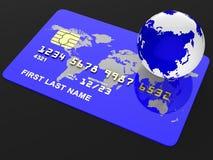 La carta di credito rappresenta l'acquisto di debito e globalizza Fotografia Stock