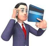 La carta di credito rappresenta la rappresentazione di Person And Buy 3d di affari Immagine Stock Libera da Diritti