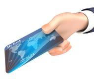 La carta di debito indica la rappresentazione di Person And Bank 3d di affari Immagine Stock