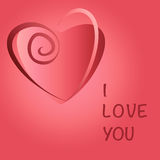 La carta di regalo romantica con cuore rosso e l'amore mandano un sms a Fotografia Stock