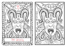 La carta di tarocchi principale di arcani Il diavolo Fotografie Stock Libere da Diritti