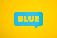 La carta di testo blu Fotografie Stock Libere da Diritti