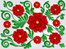 La carta di vettore ha tagliato il fondo floreale con i fiori e le foglie verdi rossi illustrazione di stock