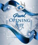 La carta elegante dell'invito di grande apertura con il blu ha strutturato il fondo arricciato del marmo e del nastro blu royalty illustrazione gratis