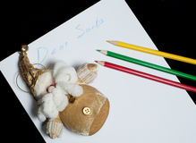 La carta estimado Papá Noel de los niños Imagenes de archivo