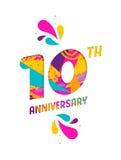 La carta felice di anniversario di 10 anni ha tagliato la cartolina d'auguri Fotografie Stock