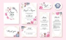 La carta floreale dell'invito di nozze, conserva la data, grazie, il rsvp, l'etichetta della tavola, il menu, i dettagli, modello royalty illustrazione gratis