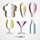 La carta ha tagliato la miscela del cuoco unico, il cappello, il gelato, la tazza e la bottiglia, progettazione b del menu Fotografia Stock