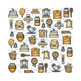 La carta quadrata con gli elementi dell'arnia assottiglia la linea icone colorate messe illustrazione di stock
