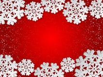 La carta rossa dell'inverno di vettore ha tagliato il fondo con la decorazione del fiocco di neve Immagini Stock