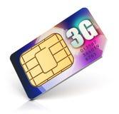 La carta SIM per 3G ha permesso all'operatore Fotografia Stock