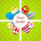 Carta verde del fondo di Pasqua con le uova dell'ornamento Fotografia Stock Libera da Diritti
