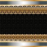 La carta withgolden l'ornamento sul bordo Fotografia Stock