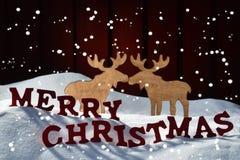 La carte, à marquer d'une pierre blanche, couple d'orignaux, neigent Joyeux Noël, flocons de neige Photographie stock libre de droits