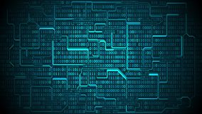 La carte électronique futuriste abstraite avec le code binaire, fond de matrice avec des chiffres, a bien organisé des couches illustration de vecteur