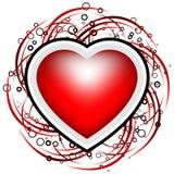 La carte abstraite de Valentine avec des défilements, les cercles et le coeur forment - Image libre de droits