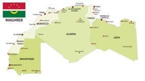 La carte administrative et politique de vecteur du Maghreb énonce des WI illustration stock