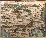 La carte antique de l'Europe de l'Est, la Transylvanie sont photos stock