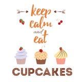 La carte avec des petits gâteaux et la citation positive 'gardent le calme et mangent des petits gâteaux' pour la conception de b illustration de vecteur