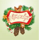 La carte avec le pain d'épice de Noël, les cannes de sucrerie et le sapin s'embranche Photos stock