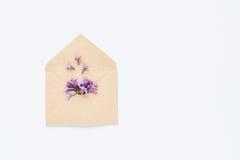 La carte blanche avec l'enveloppe ouverte de papier de métier a rempli de fleurs lilas pourpres de fleur de ressort s'étendant su Photos libres de droits
