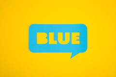 La carte bleue des textes Photos libres de droits