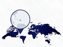 La carte d?taill?e de la R?publique Dominicaine a accentu? sur la carte arrondie bleue du monde illustration stock