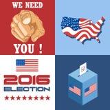 La carte 2016 d'élection des Etats-Unis avec la carte de pays, la boîte de vote, et nous ont besoin de vous slogan avec la main Images stock