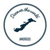 La carte d'Amorgos dans le vintage découvrent le monde Photos libres de droits