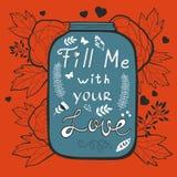 La carte d'amour de concept me remplissent avec votre amour Photo libre de droits
